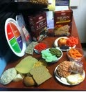 Examples of recommended healthy food in Ellen Bauersfeld's office.